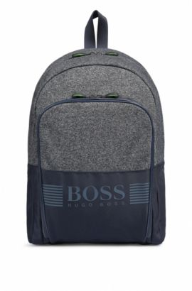 Sporty backpack in nylon and jersey, Dark Blue