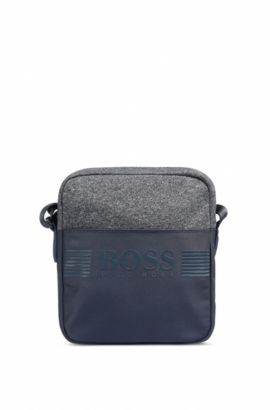 Cross-body bag in technical fabric and jersey, Dark Blue