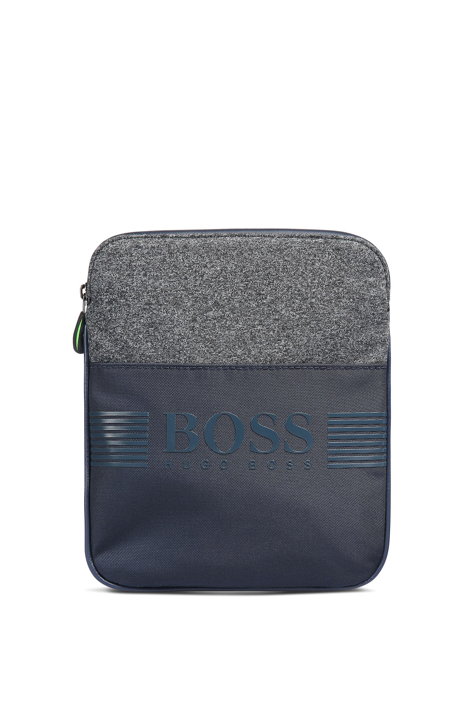 Compact cross-body bag in jersey and nylon