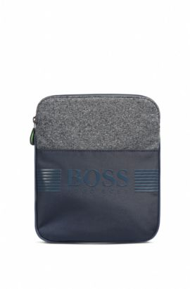 Compact cross-body bag in jersey and nylon, Dark Blue