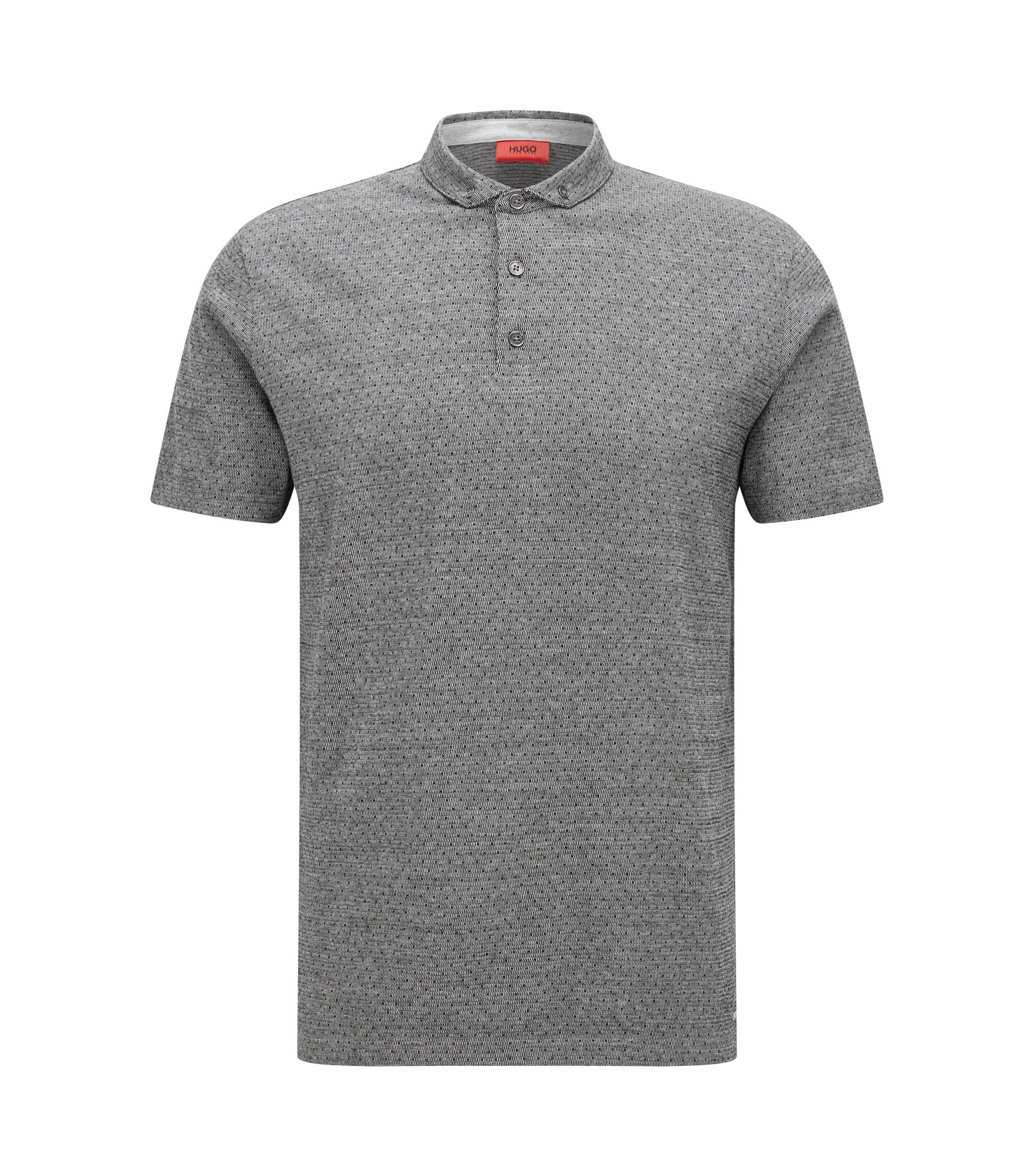 Regular-fit polo shirt in mercerised jacquard , Dark Grey