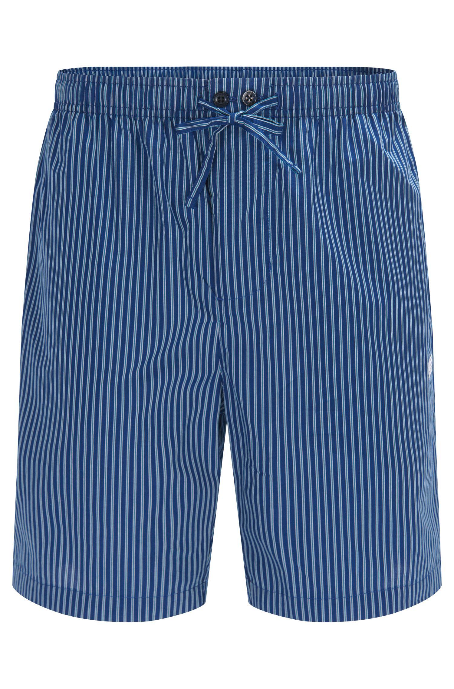 Shorts de pijama a rayas en popelín de algodón