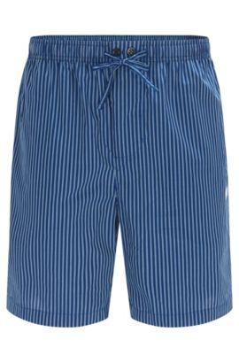 Shorts de pijama a rayas en popelín de algodón, Azul oscuro