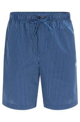Gestreifte Pyjama-Shorts aus Baumwoll-Popeline, Dunkelblau