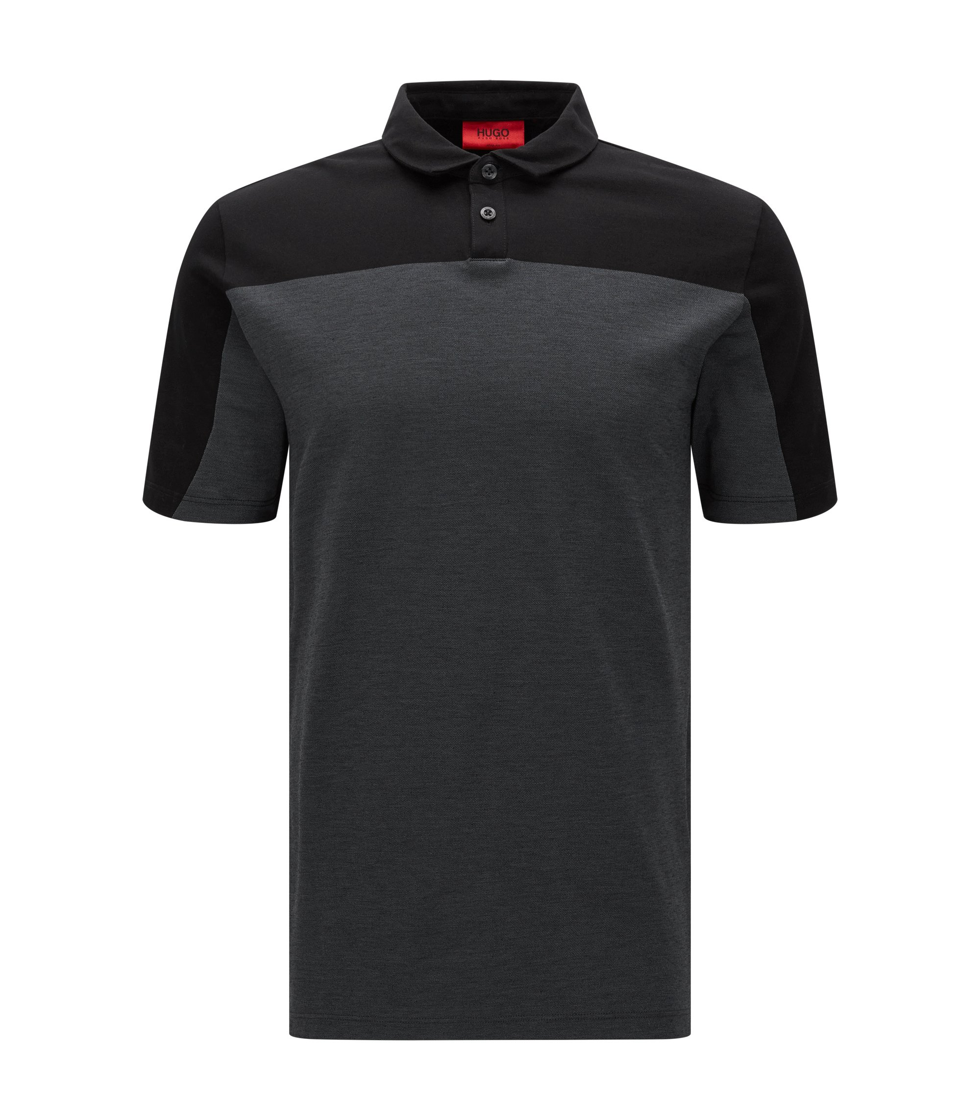Slim-fit polo shirt in mercerised piqué cotton, Black