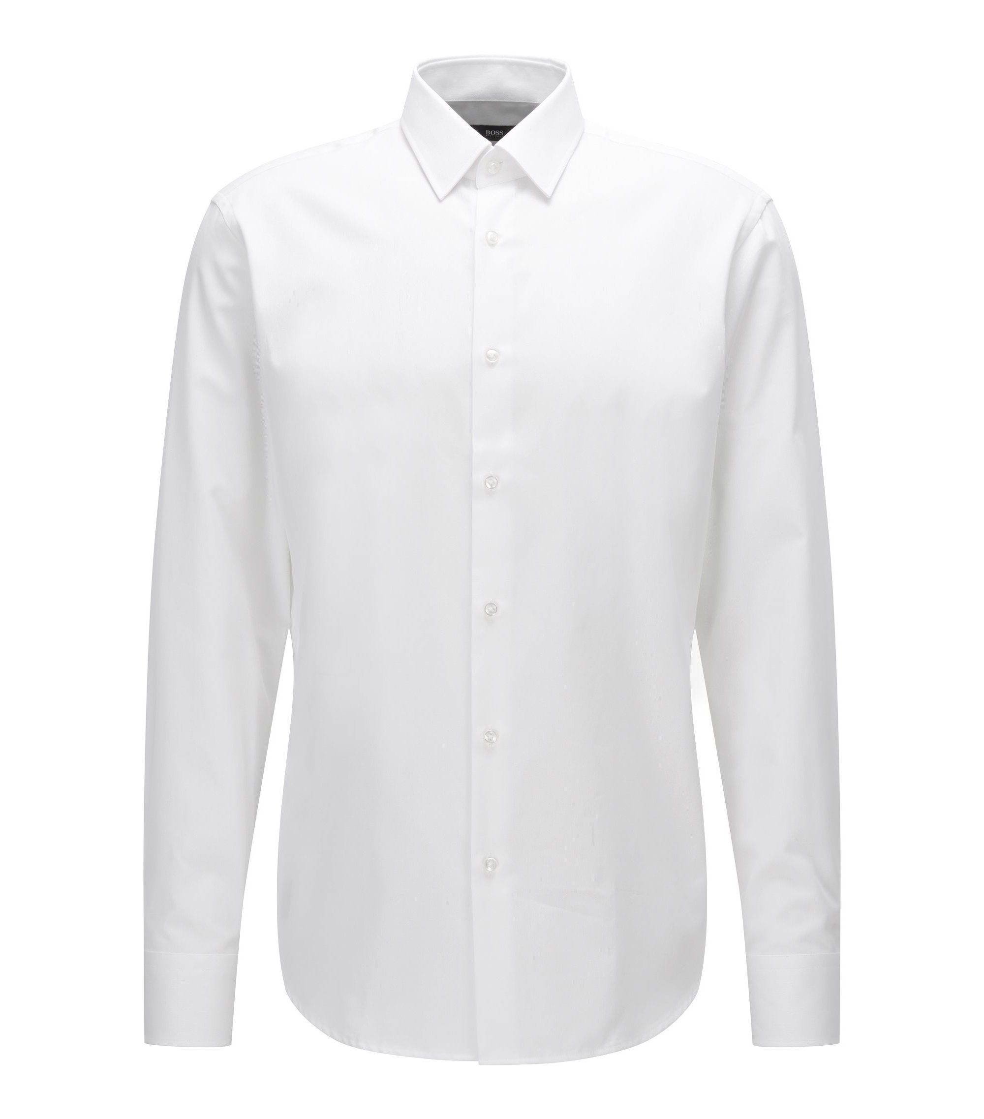 Regular-fit overhemd van katoen met microdessin, Wit