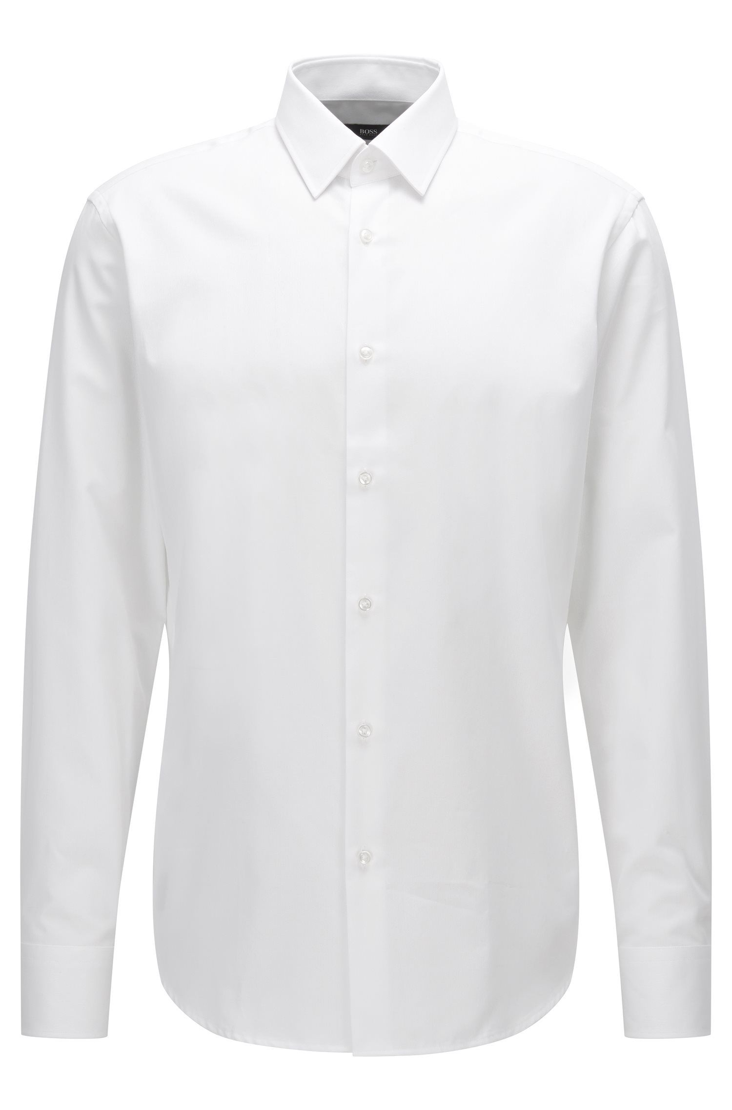 Regular-fit cotton shirt with a micro pattern