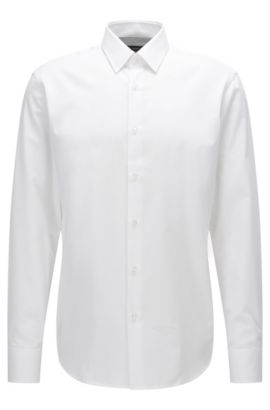 Regular-fit cotton shirt with a micro pattern, White