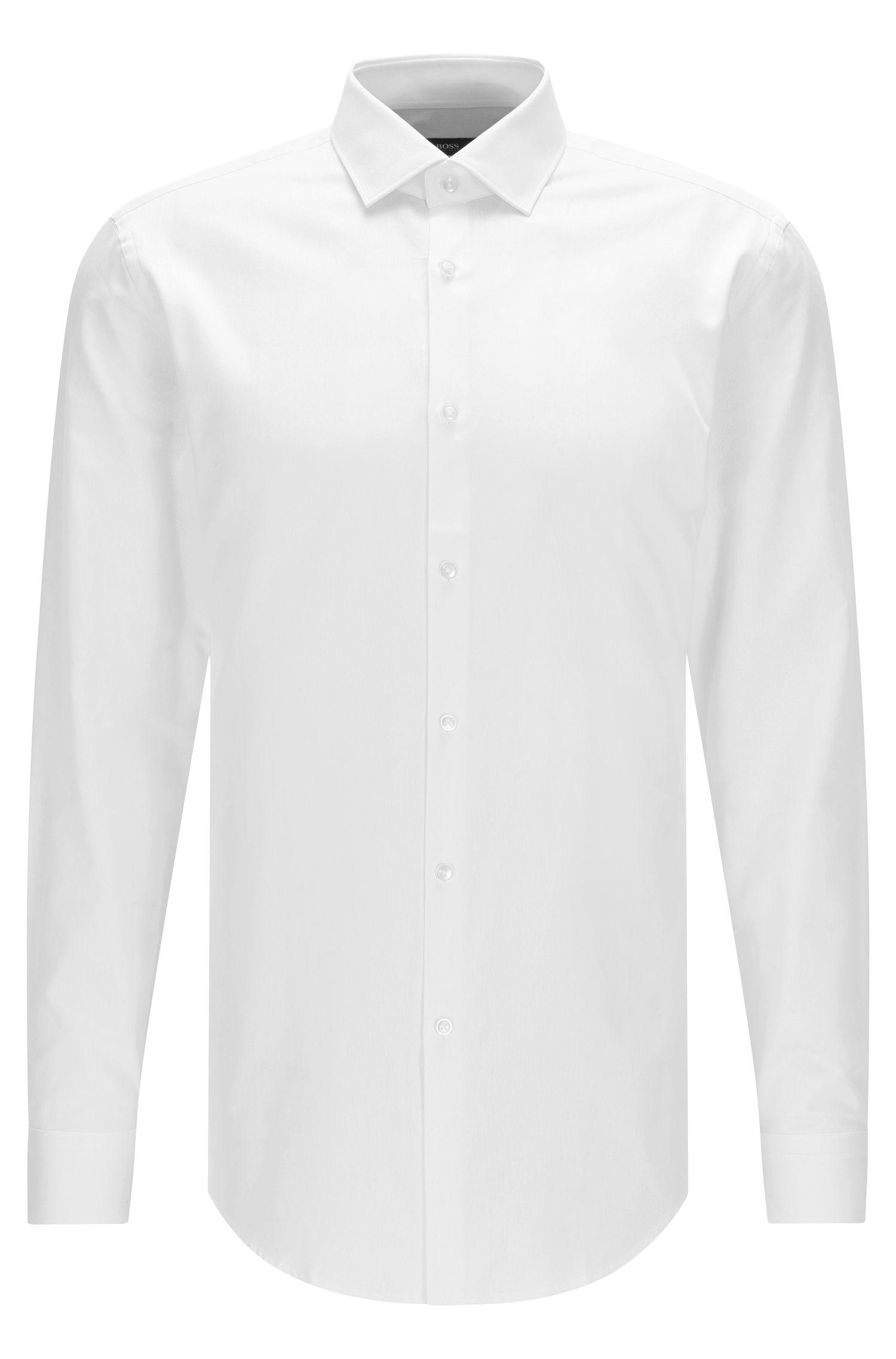 Camisa slim fit en algodón con cuello medio abierto