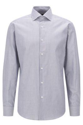 Regular-Fit Hemd aus reiner Baumwolle mit Längsstreifen, Dunkelblau