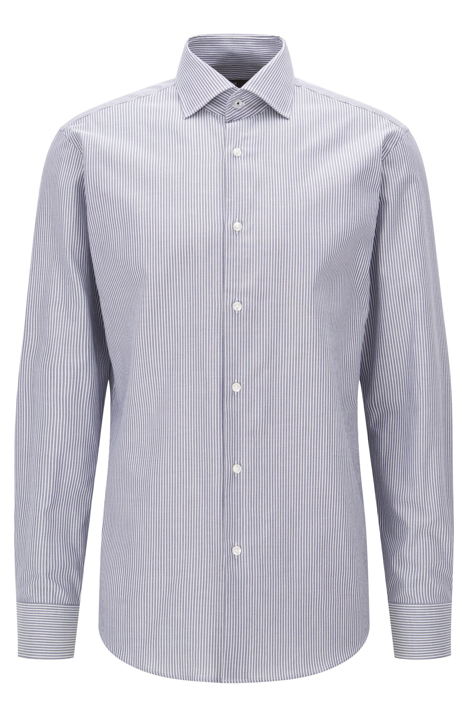 Regular-fit cotton shirt with vertical stripes