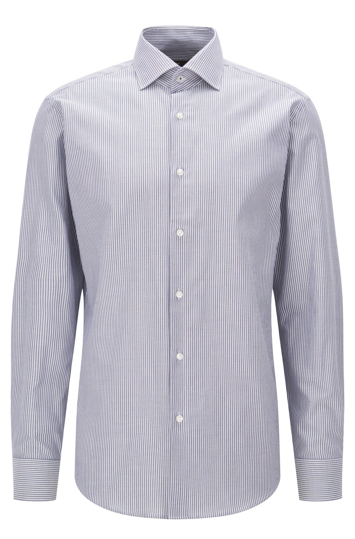 Regular-Fit Hemd aus reiner Baumwolle mit Längsstreifen