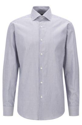 Camisa regular fit en algodón con rayas verticales, Azul oscuro