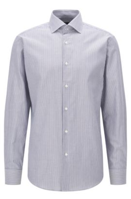 Regular-fit cotton shirt with vertical stripes, Dark Blue