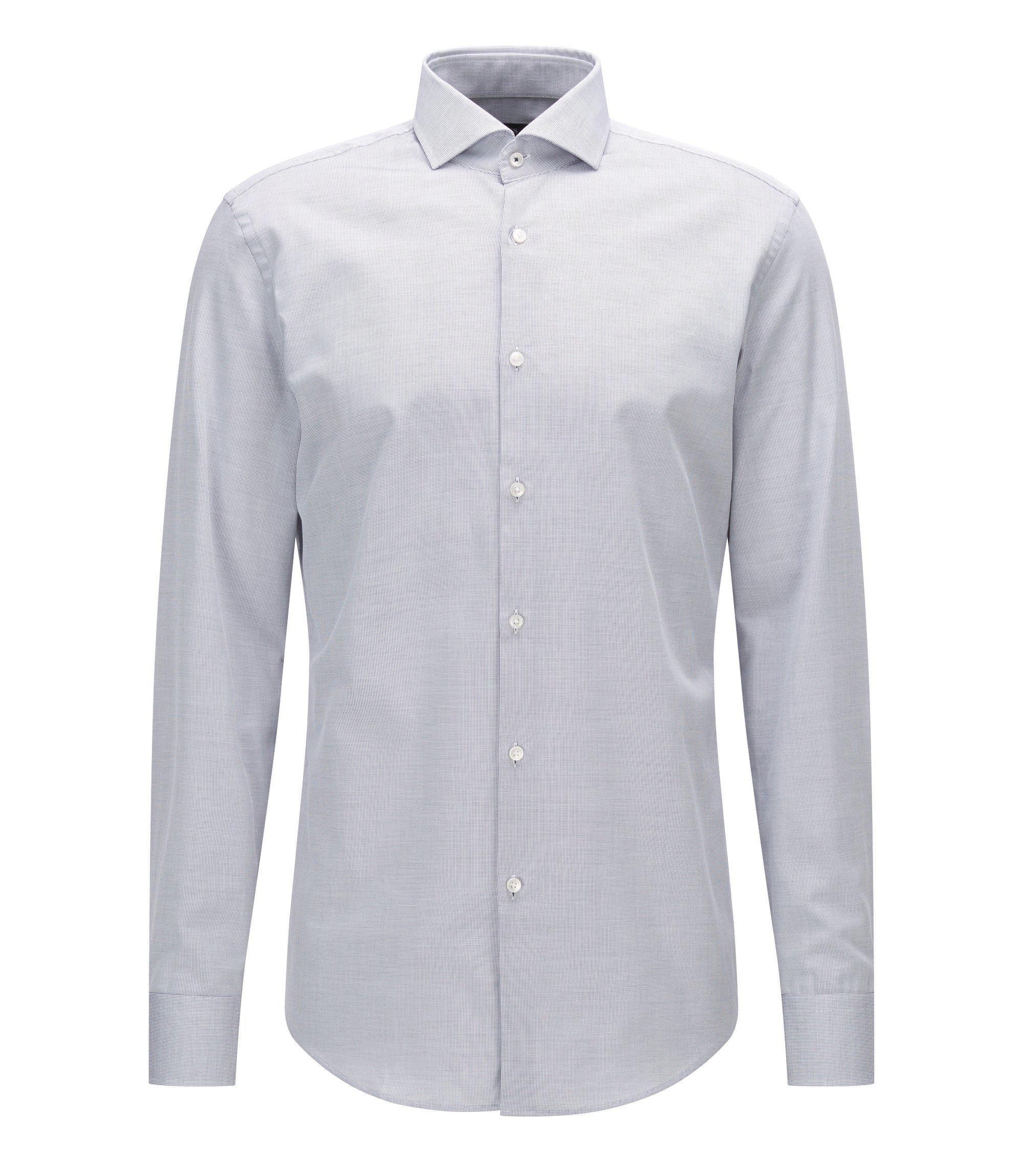 Slim-Fit Hemd aus Baumwolle mit Cutaway-Kragen, Dunkelblau