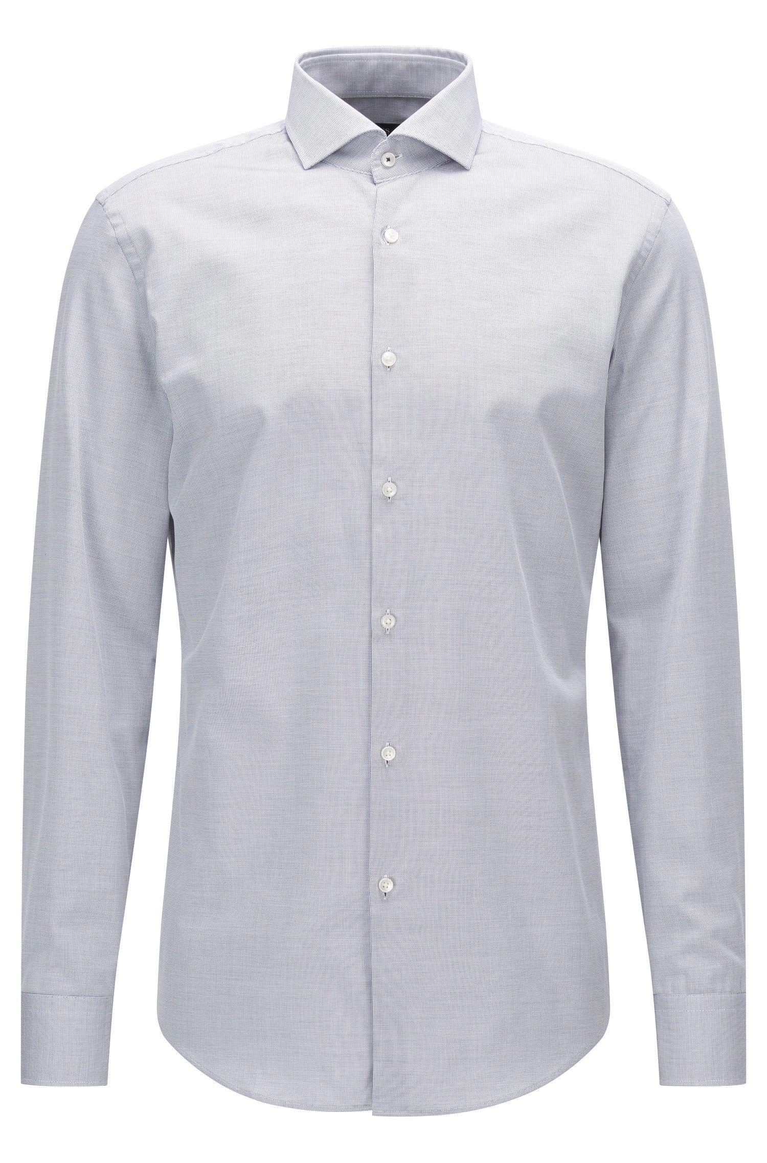 Camicia slim fit in cotone con colletto alla francese