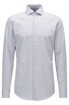 Slim-fit cotton shirt with spread collar, Dark Blue
