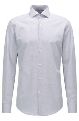 Chemise Slim Fit en coton à col italien, Bleu foncé