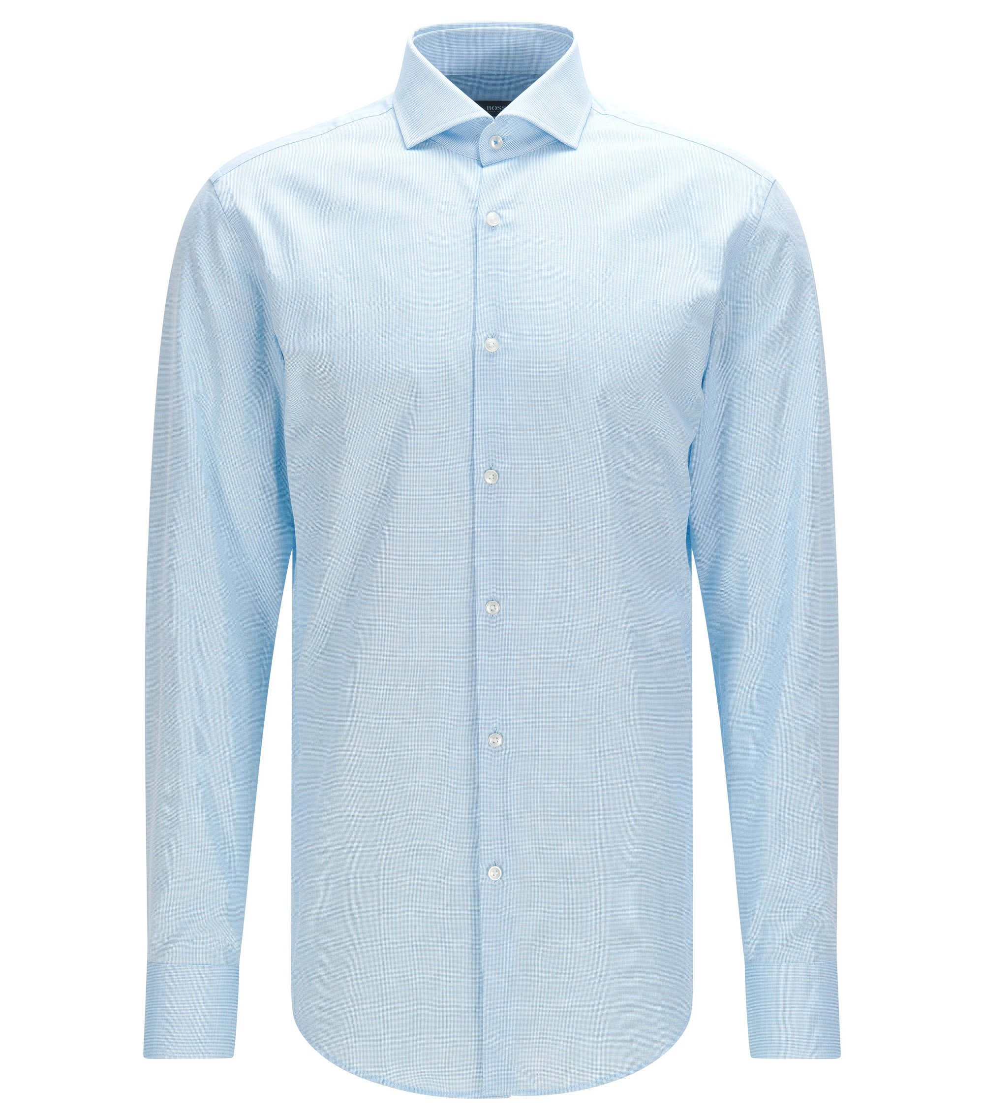 Chemise Slim Fit en coton à col italien, Turquoise