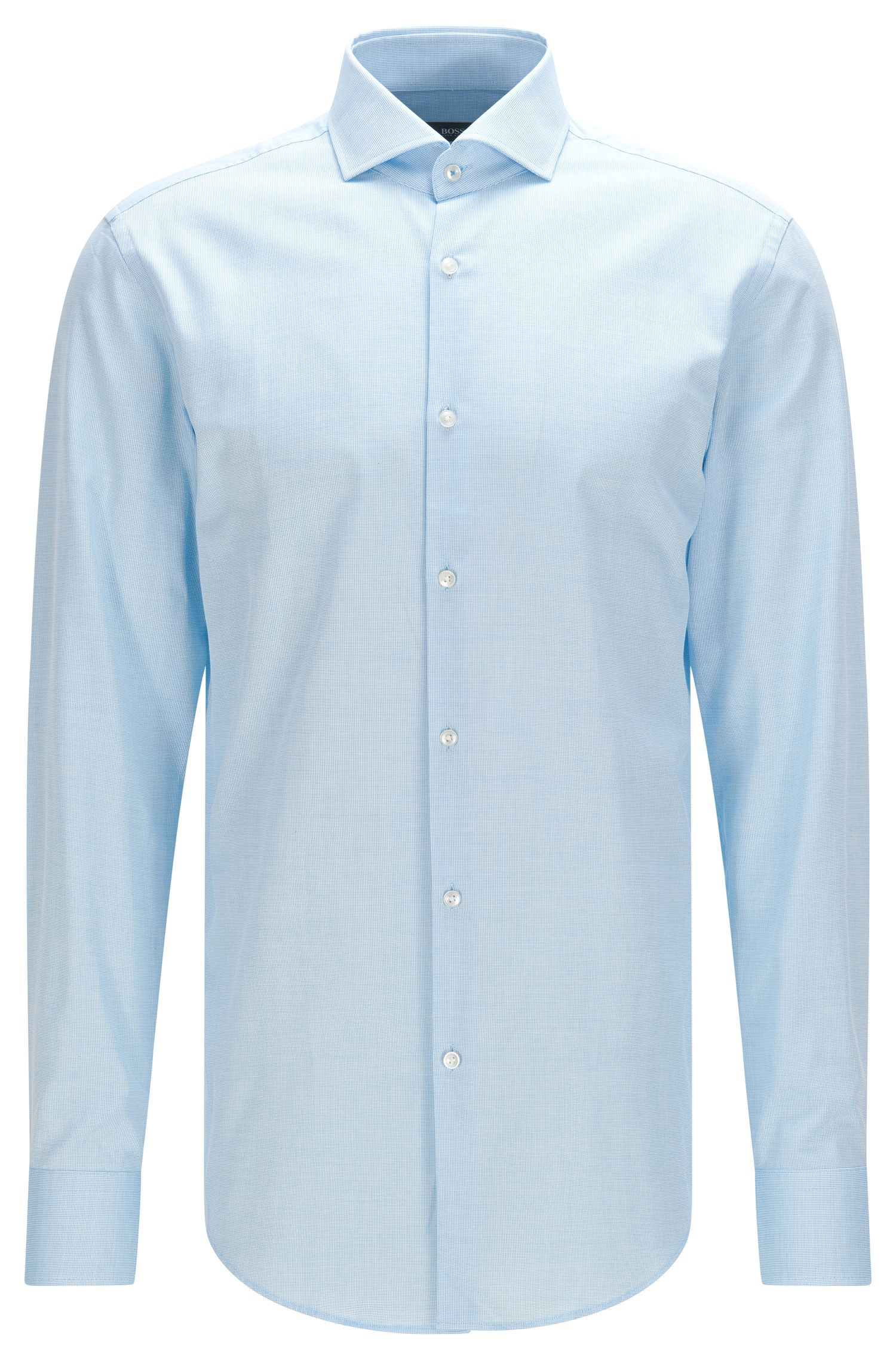 Slim-fit cotton shirt with spread collar