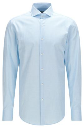 Slim-fit cotton shirt with spread collar, Turquoise