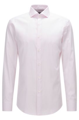 Slim-fit cotton shirt with spread collar, light pink