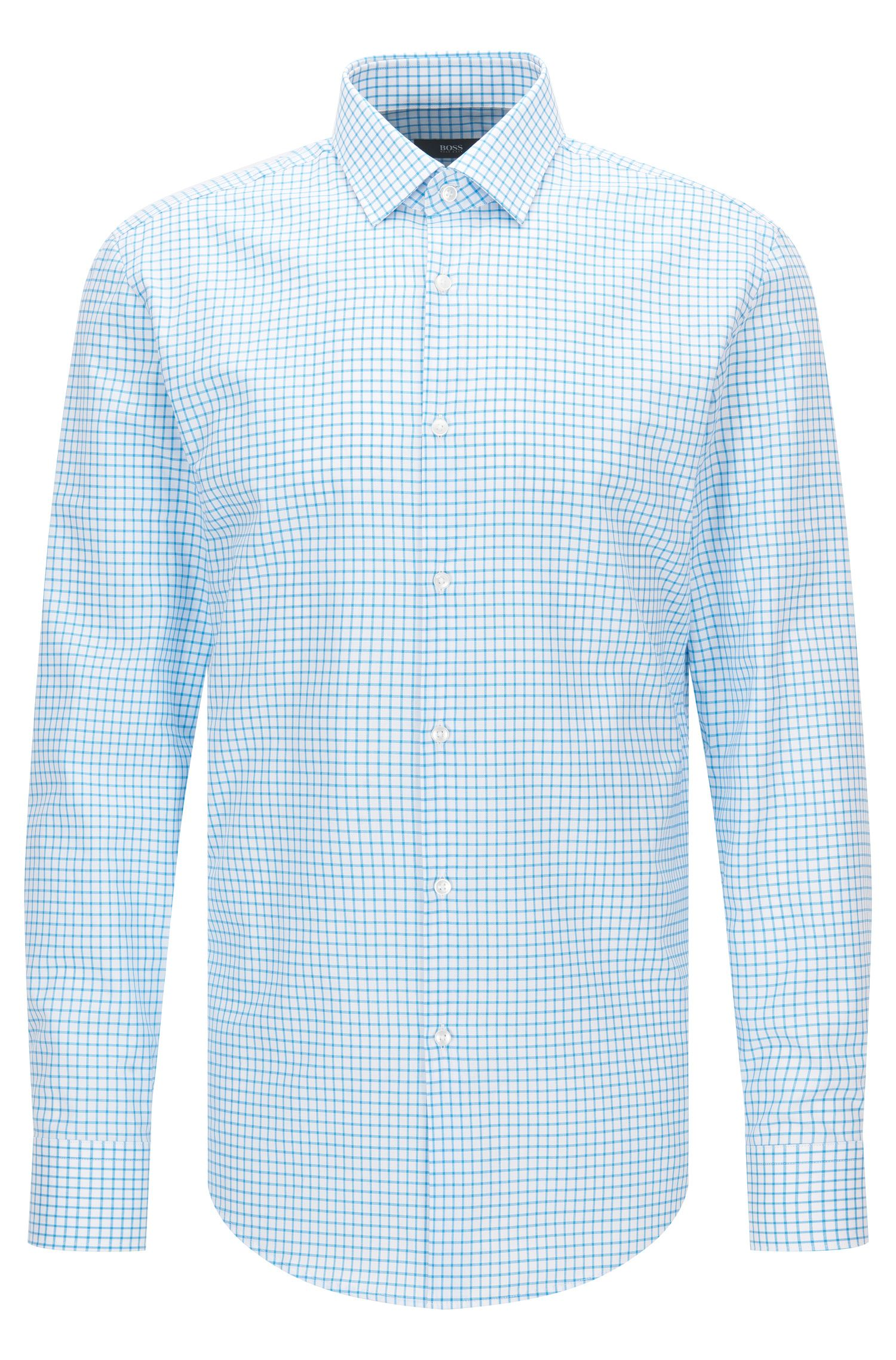 Slim-fit cotton poplin shirt in a plain check