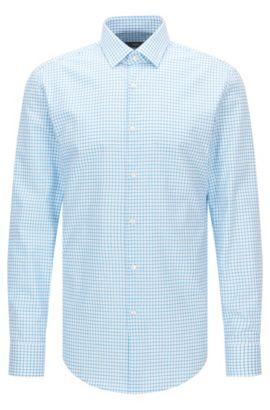 Camisa slim fit en popelín de algodón con cuadros lisos , Turquesa