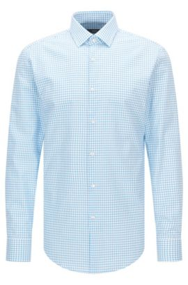 Slim-fit cotton poplin shirt in a plain check , Turquoise