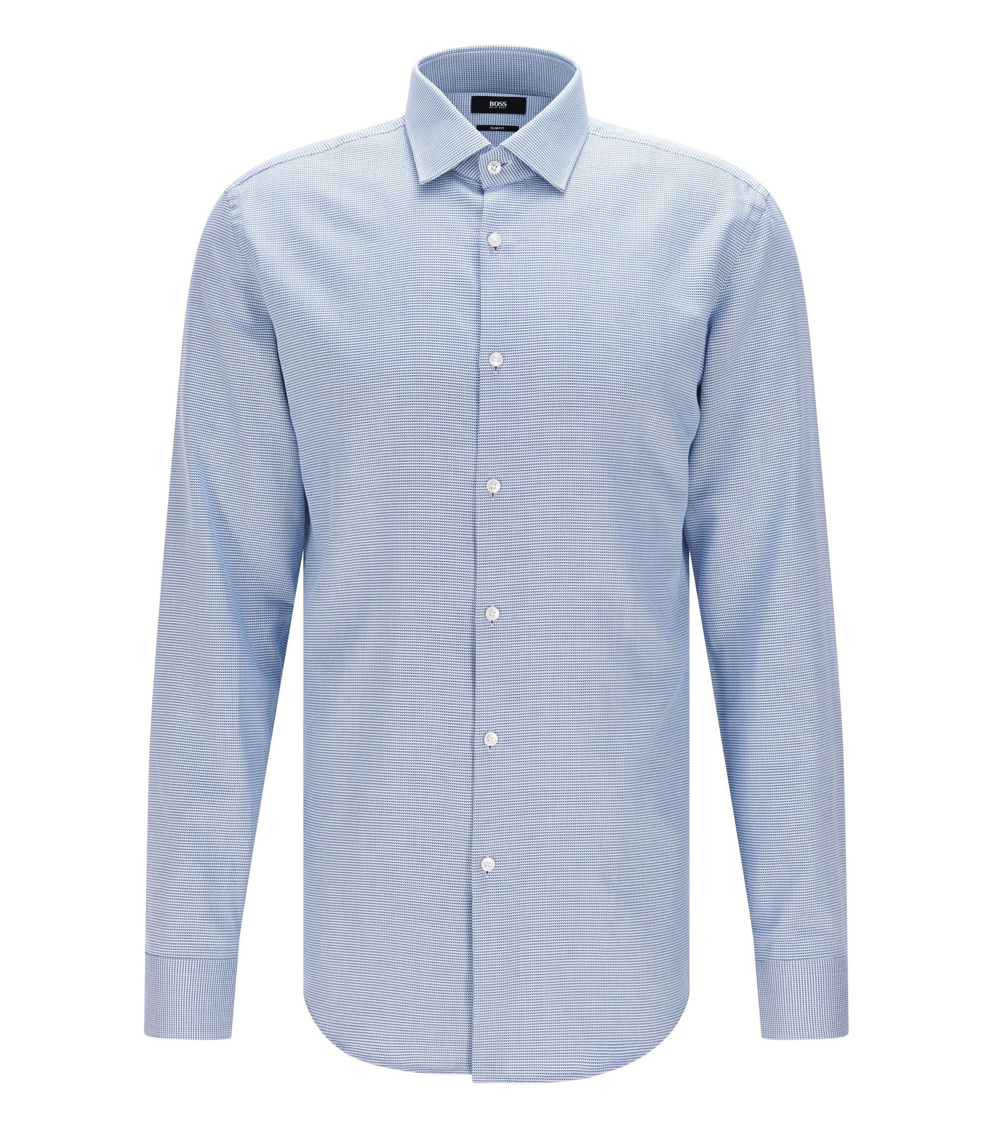 Slim-fit overhemd van katoen met een microdessin, Donkerblauw