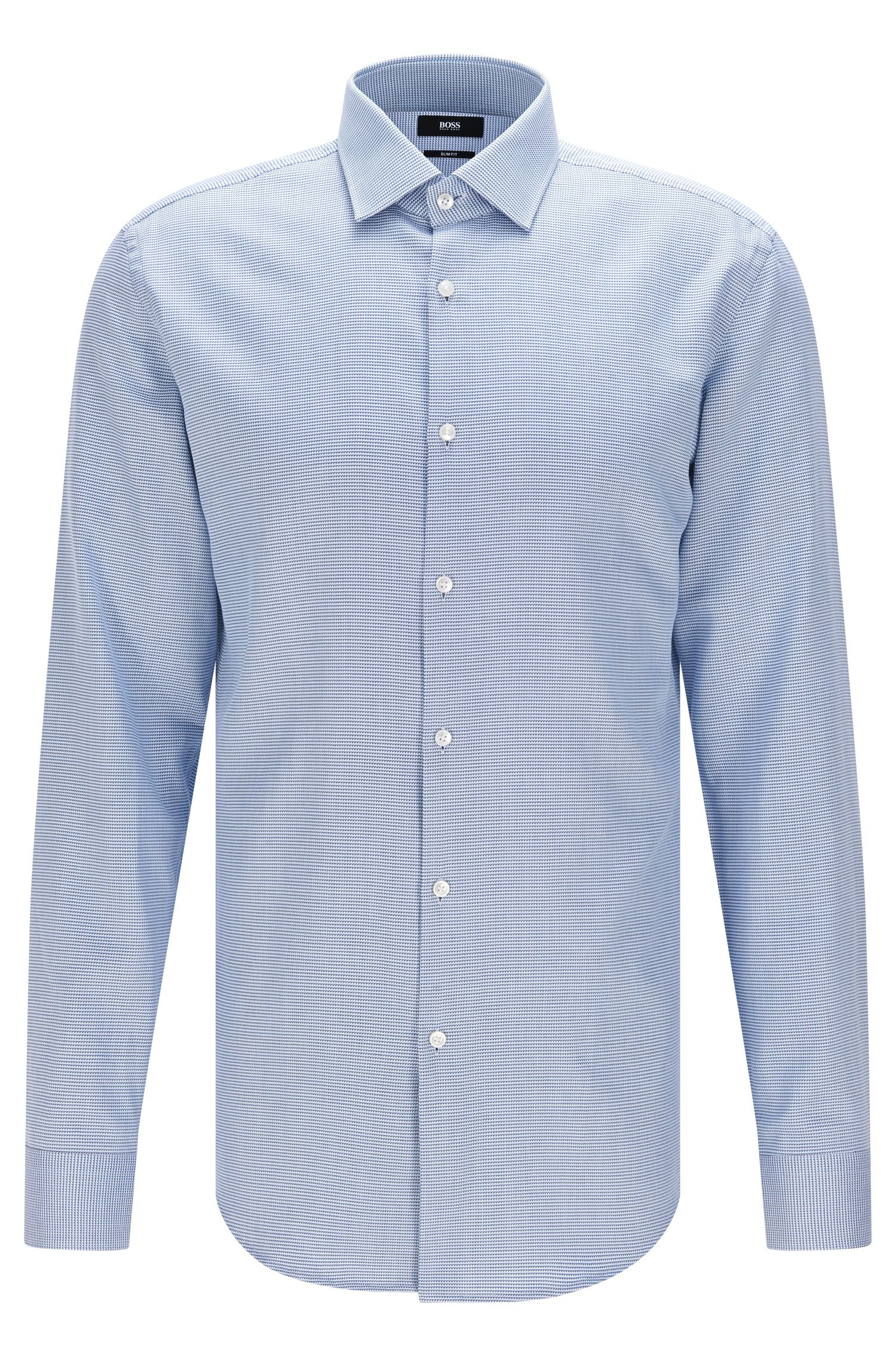 Slim-fit shirt in cotton with a micro pattern