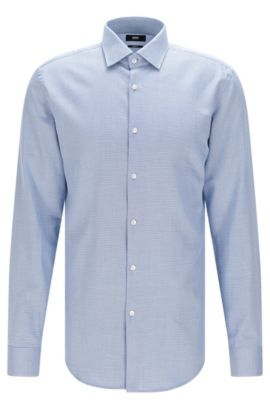 Slim-fit shirt in cotton with a micro pattern, Dark Blue