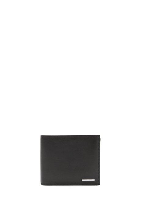 b0cd1ec56be7d BOSS - Tri-fold wallet in natural-grain leather
