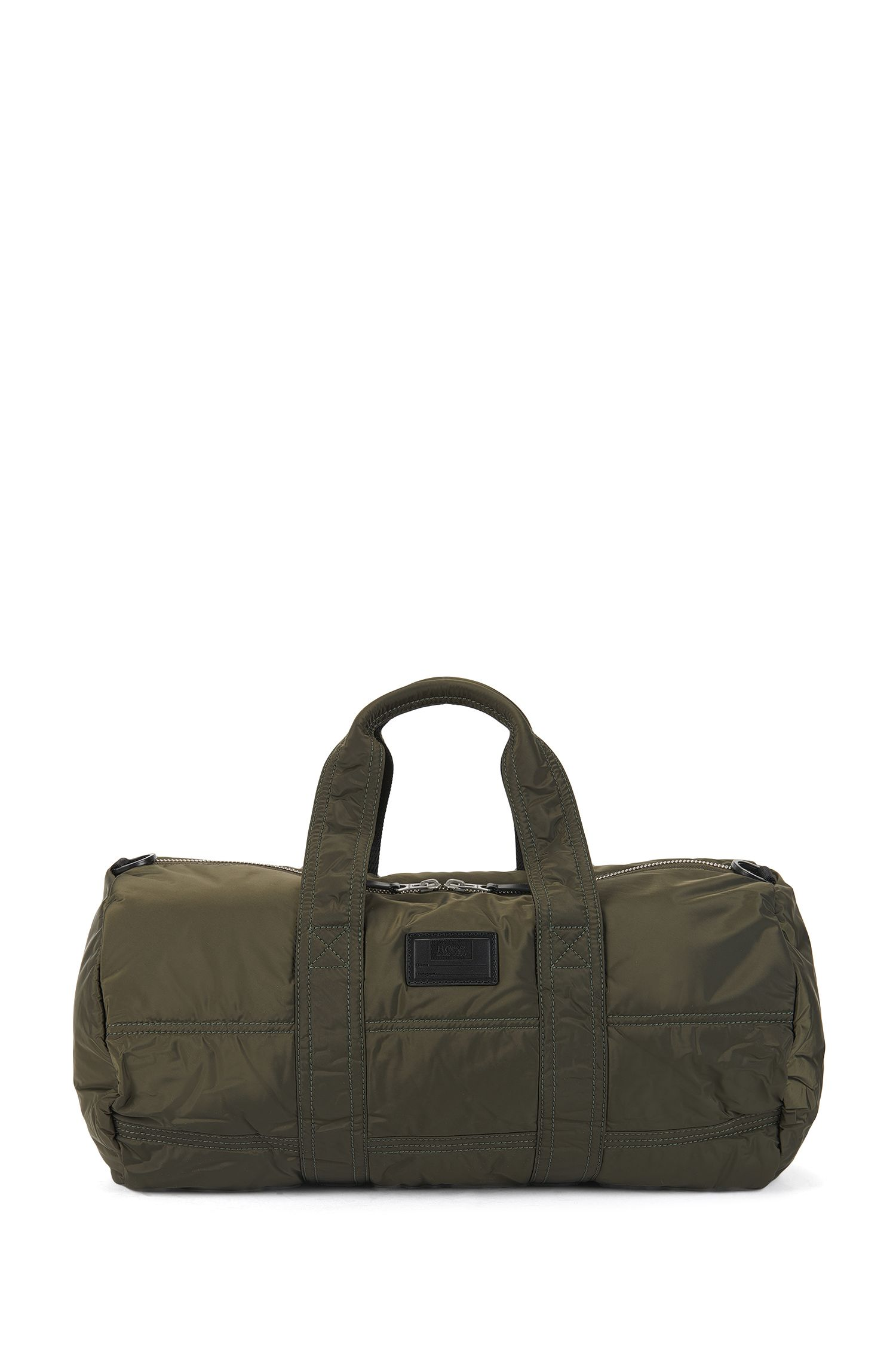 Quilted-polyamide holdall with customisable patch