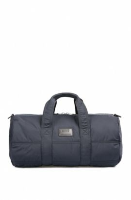 Quilted-polyamide holdall with customisable patch, Dark Blue