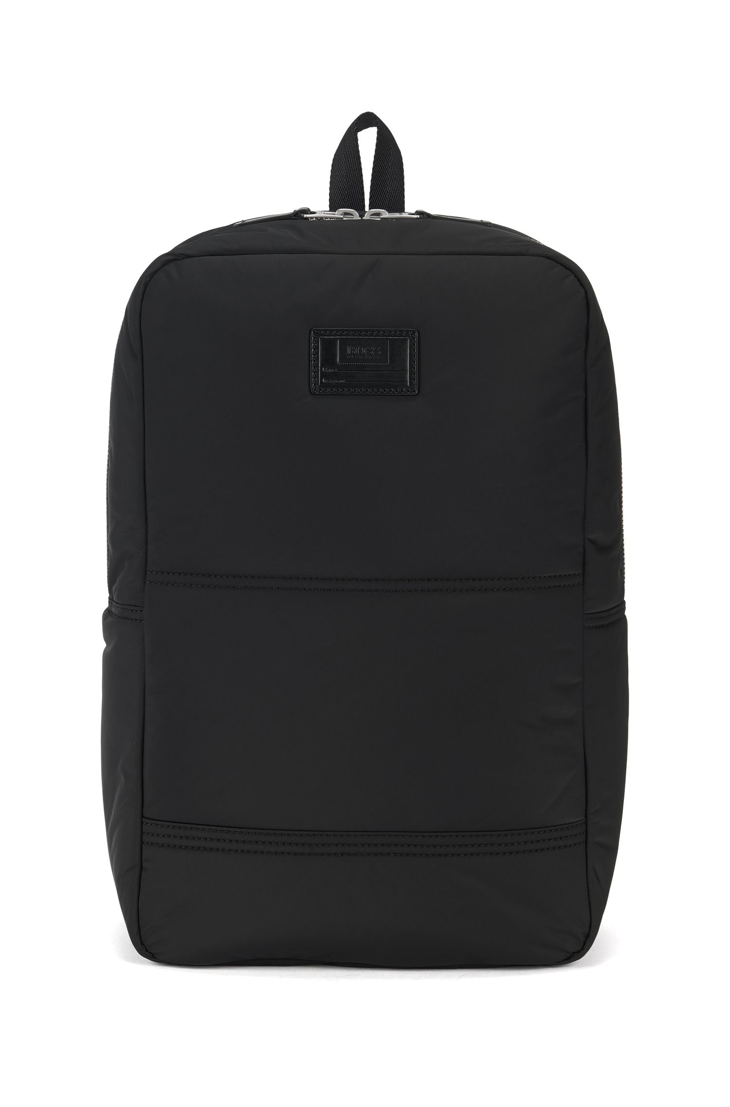 Quilted-polyamide backpack with customisable patch