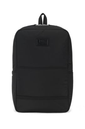 Quilted-polyamide backpack with customisable patch, Black