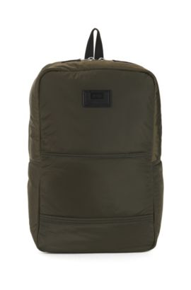 Quilted-polyamide backpack with customisable patch, Dark Green