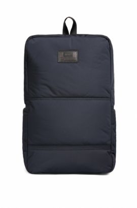 Quilted-polyamide backpack with customisable patch, Dark Blue