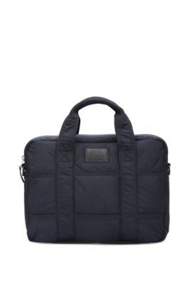Cross-body-tas van lichte technische stoffen met stiksels, Donkerblauw