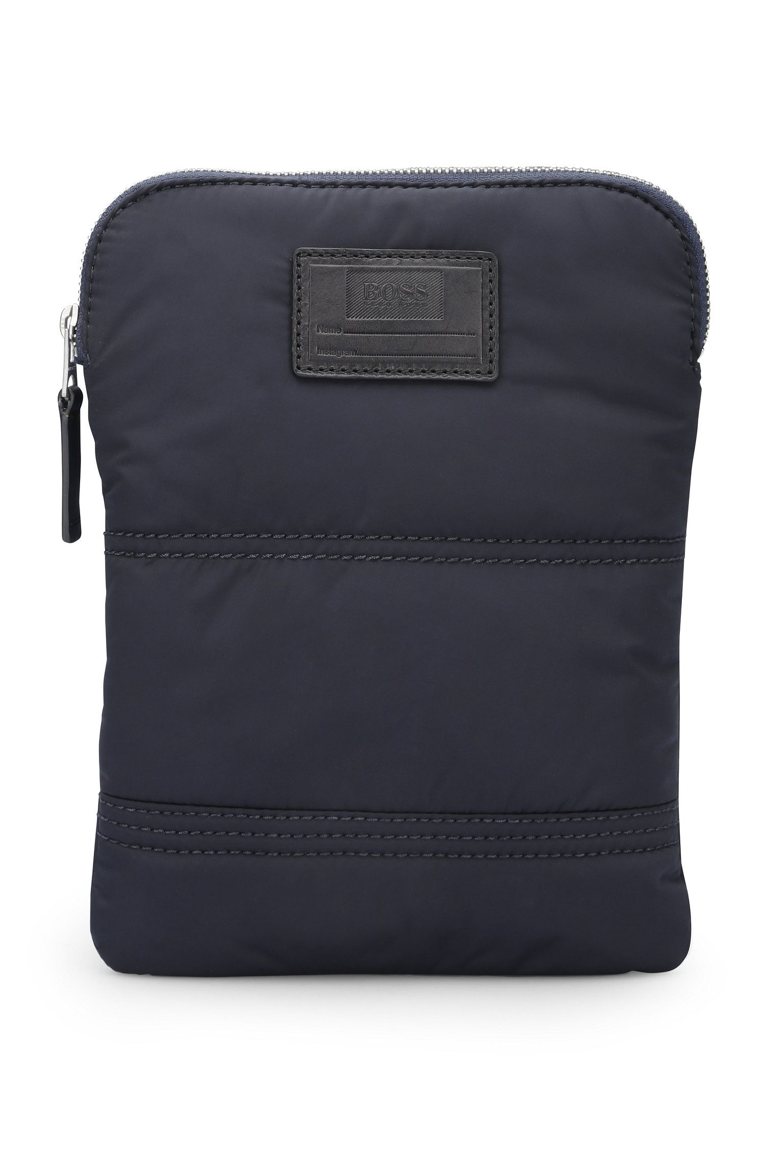 Quilted-polyamide crossbody bag with customisable patch