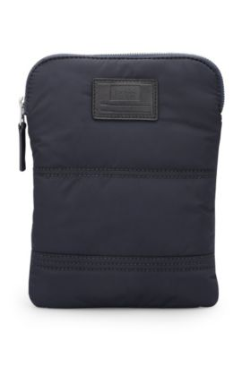 Quilted-polyamide crossbody bag with customisable patch, Dark Blue