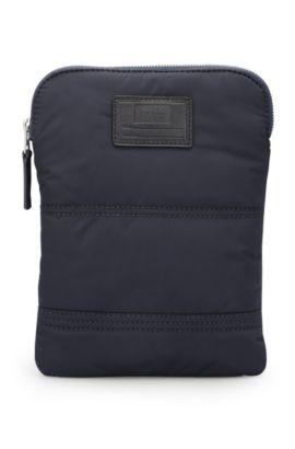 Cross-body tas van gewatteerde polyamide met aanpasbare patch, Donkerblauw