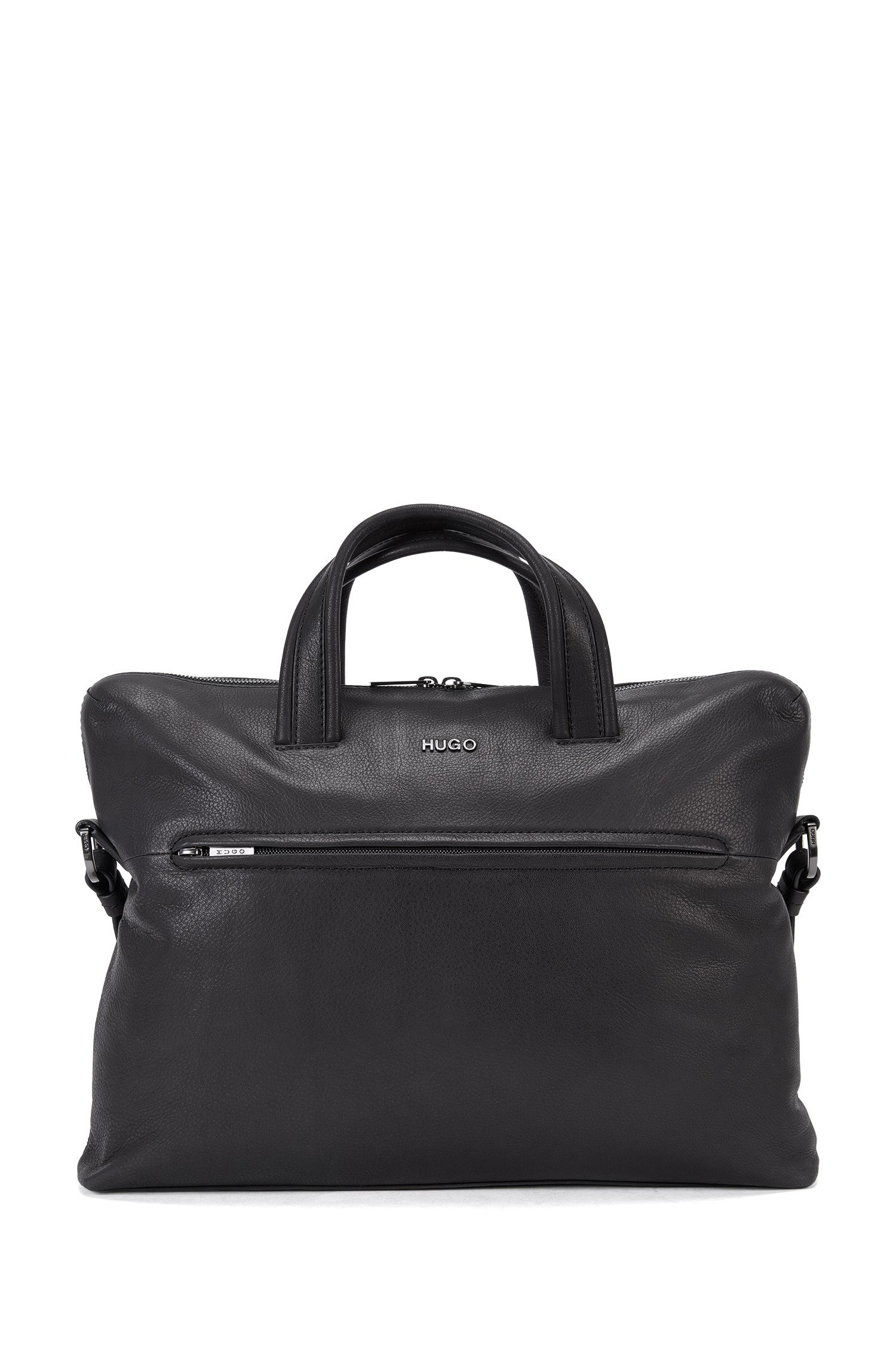 Leather holdall with gunmetal hardware
