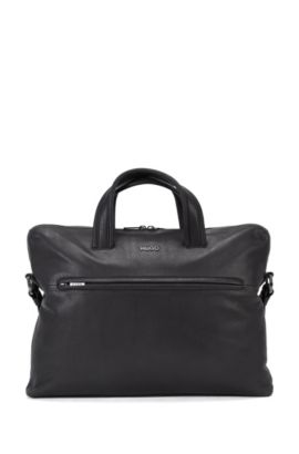 Leather holdall with gunmetal hardware, Black