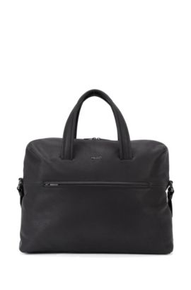 Leather work bag with gunmetal hardware, Black
