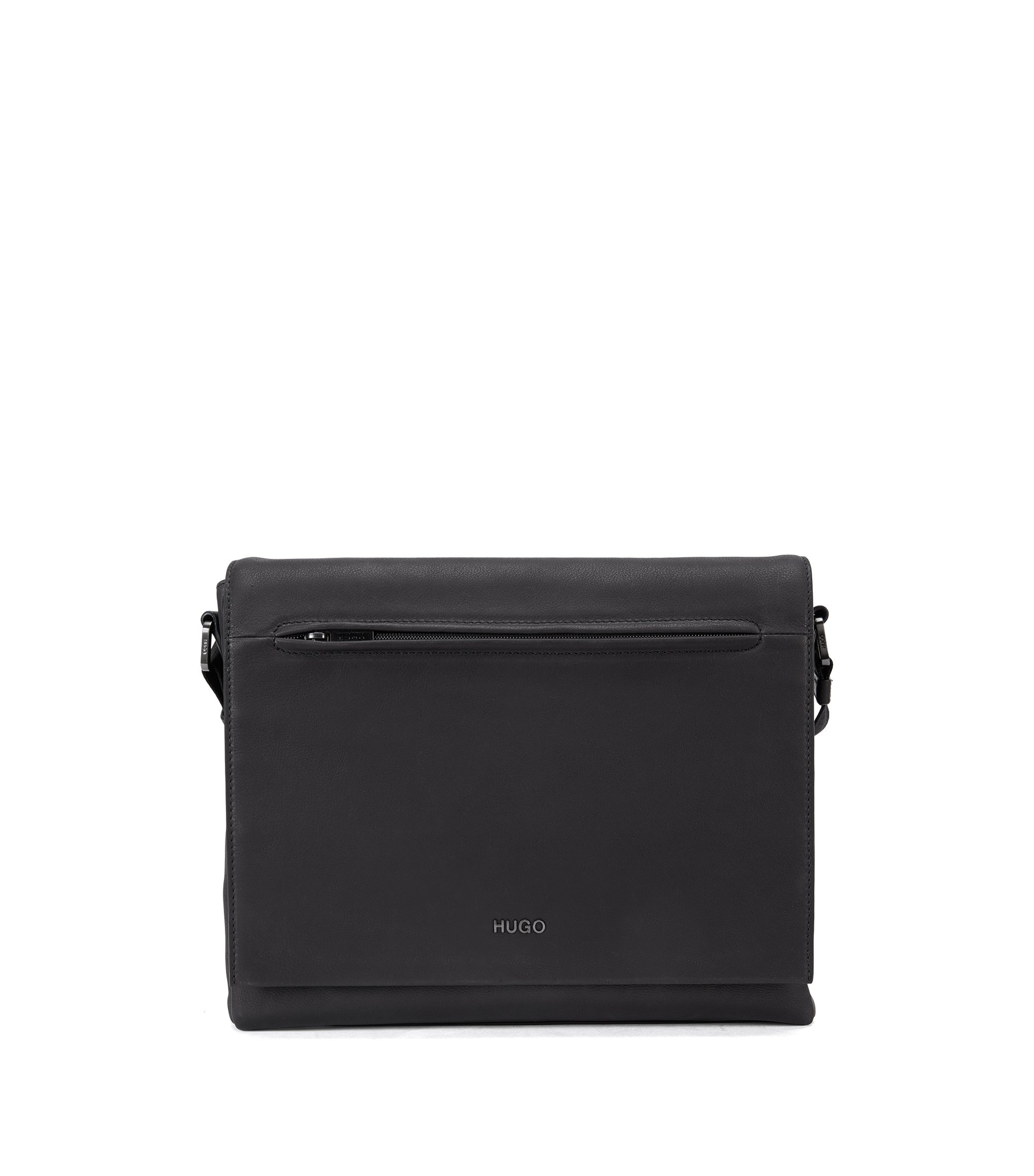 Leather messenger bag with gunmetal hardware, Black