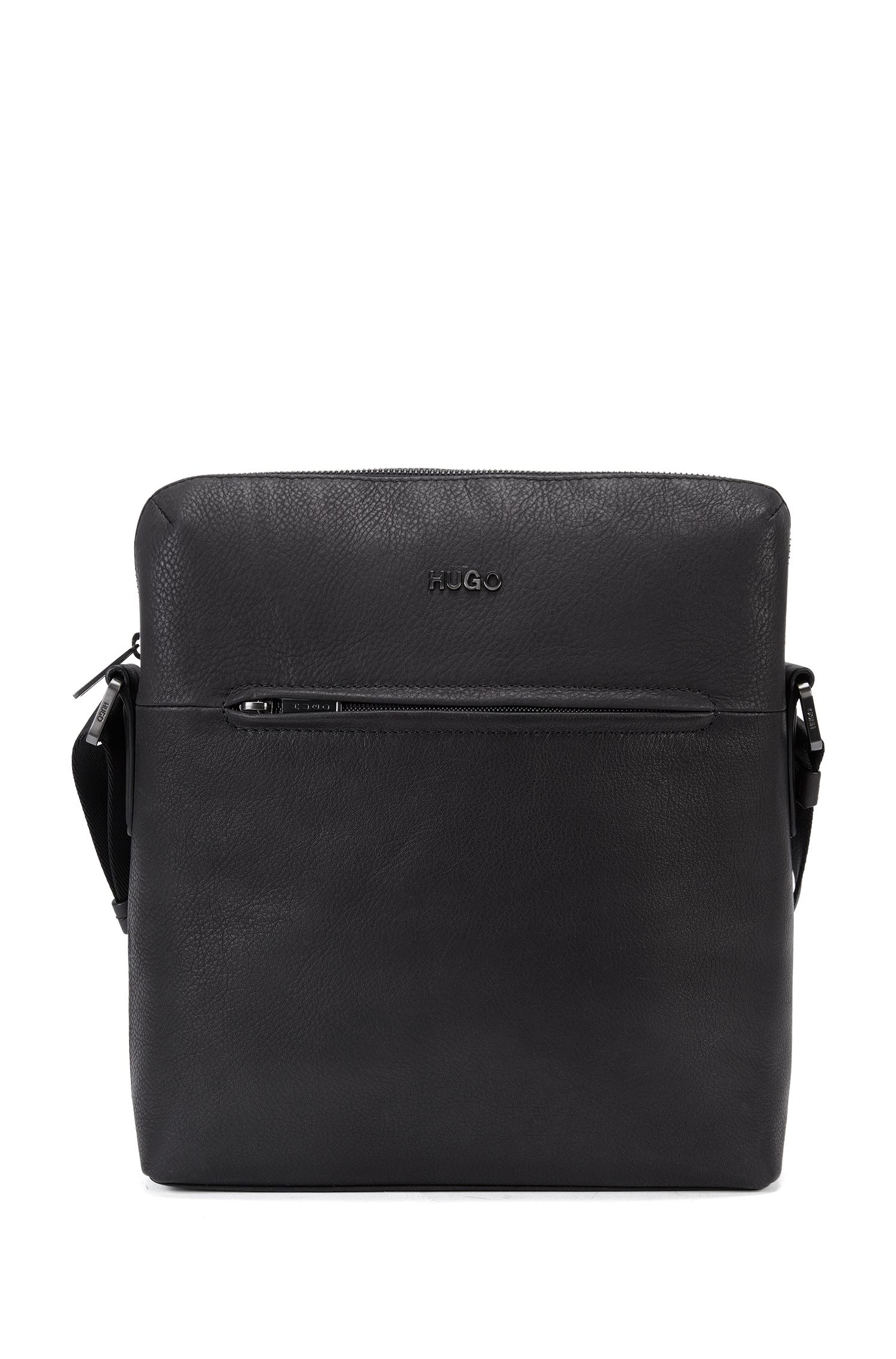 Leather cross-body bag with zipped front pocket