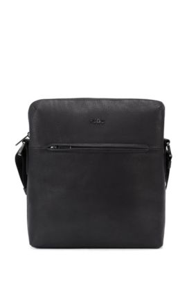 Leather cross-body bag with zipped front pocket, Black