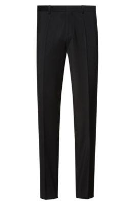 Pantalon Extra Slim Fit en popeline de laine vierge, Noir